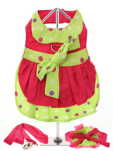 Hot Pink & Polka Dot Harness Dress, Lead & Hat - Get ready for the runway in this trendy little number! 100% cotton, hot pink and bright lime green with polka dots make this dress a real eye catcher. It has a sturdy reinforced D-Ring and a double sized / double strength velcro for comfortable and secure fastening. This harness dress set comes comp...