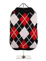 Red & Black Argyle Sweater - Knitted black sweater with a red and white diamond pattern. The Argyle pattern has seen a resurgence in popularity in the last few years due to its adoption by Stuart Stockdale in collections produced by luxury clothing manufacturer, Pringle of Scotland. The rich Scottish heritage will give your pup...