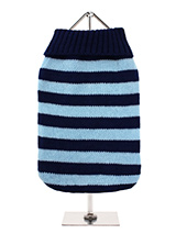 Oxford Blue Striped Sweater - A warm turtle neck sweater in contrasting shades of blue, perfect for boys or girls. Great for when it's just too warm for a coat but still too cold for going au natural!