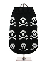 Black Skull Sweater - Our Black Skull Sweater is a great look for those who don't like to conform, do you know anyone like that, perhaps someone with four legs? Skulls never go out of fashion, just ask any tattoo artist, so you will be right on trend with this look. Finished with an on trend high neck and elasticated sle...
