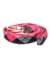 Pink Argyle Lead - Here at Urban Pup our design team understands that everyone likes a coordinated look. So we added a Pink Argyle Lead Fabric Lead to match our Pink Argyle Harness, Bandana and collar. This lead is lightweight and incredibly strong.