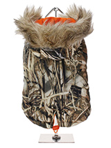 Wetlands Camouflage Fish Tail Parka - Our Wetlands Camouflage Fish Tail Parka is perfect for the dog who loves the great outdoors. It is also ideal for the dog that likes a bit of rough and tumble, a quality, multi-layered piece of clothing that will keep the heat in and the cold out. Our classic collection of camouflage coats and acces...