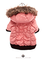 Luxury Pink Quilted Ski Parka - This gorgeous dusky pink quilted ski parka designed to hold the heat. The arms and hem are elasticated to ensure the best possible fit. The hood is finished with luxurious faux fur and the soft pink fleece lining will keep your dog cosy and warm. The coat fastens along the underside with Velcro maki...