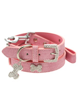 Pink Leather Diamante Collar / Diamante Bone Charm & Lead Set - Sparkling Bling Collar & Lead Set. This textured pink leather collar with a stitched edging has a crystal encrusted buckle with three large / bling sparkling diamante bones and a large sparkling diamante charm complete the look. A glamorous addition to the wardrobe of any trendy pooch. Matching lead...