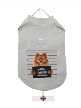 ''Police Mugshot - Pomeranian'' Harness-Lined Dog T-Shirt